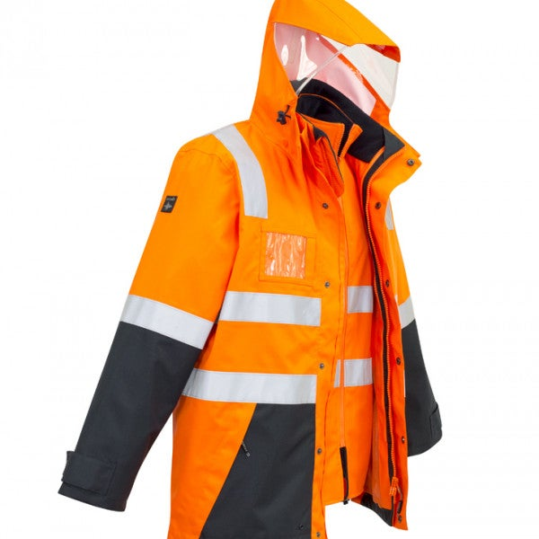 Custom Mens Hi Vis 4 in 1 Waterproof Jacket