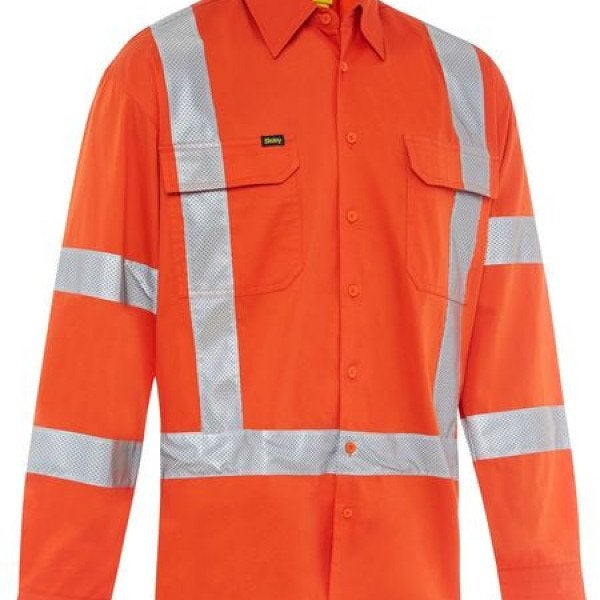 Custom TAPED X BACK LIGHTWEIGHT HI VIS DRILL SHIRT