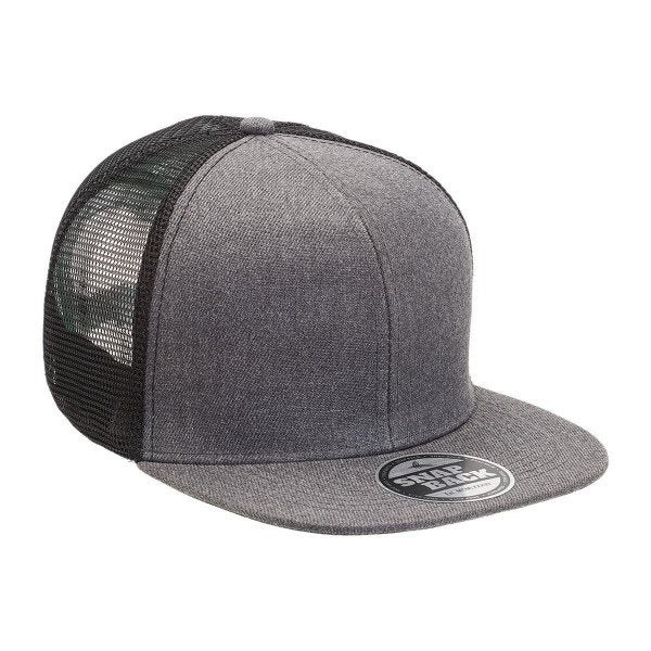 Custom Heathered Flat Peak Trucker Cap