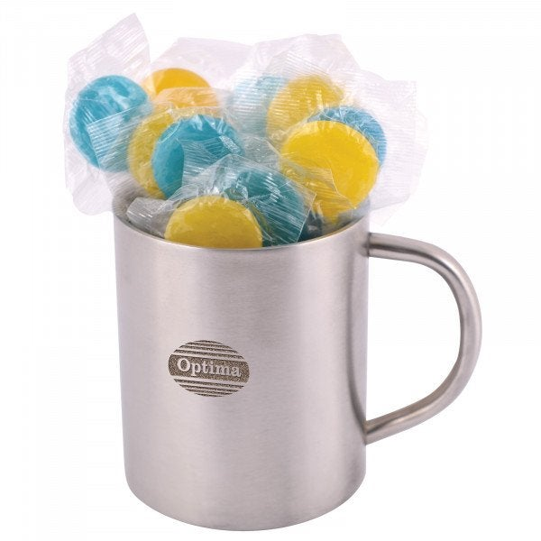 Custom Corporate Colour Lollipops in Double Wall Stainless Steel Barrel Mug