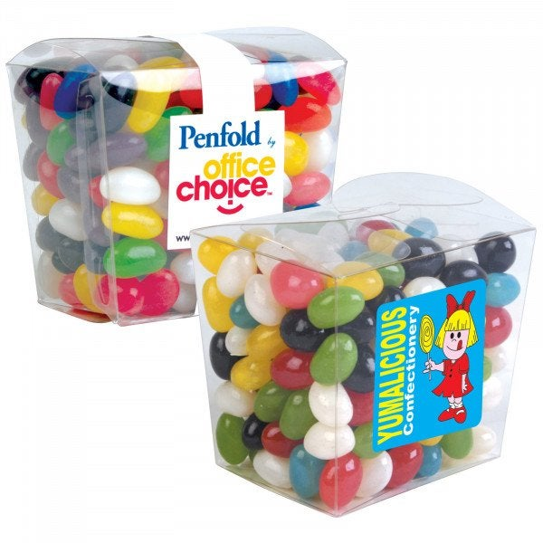 Custom Assorted Colour Mini Jelly Beans in Clear Mini Noodle Box