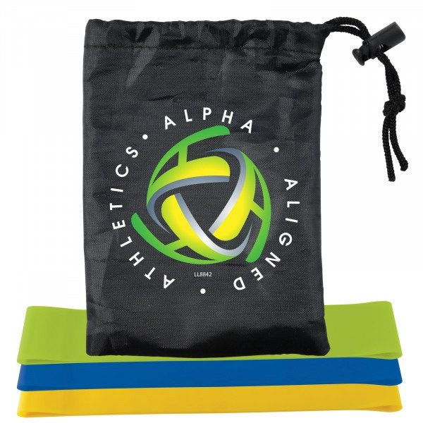 Custom Stamina Resistance Bands in Drawstring Pouch