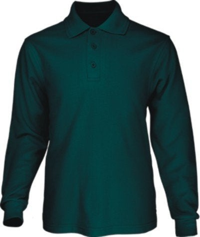 Bocini Long Sleeve Polo with Ribbed Cuff