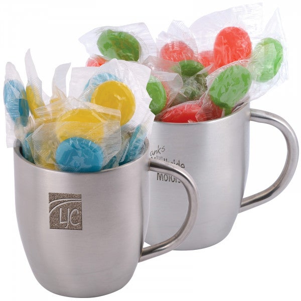 Custom Corporate Colour Lollipops in Stainless Steel Double Wall Curved Mug