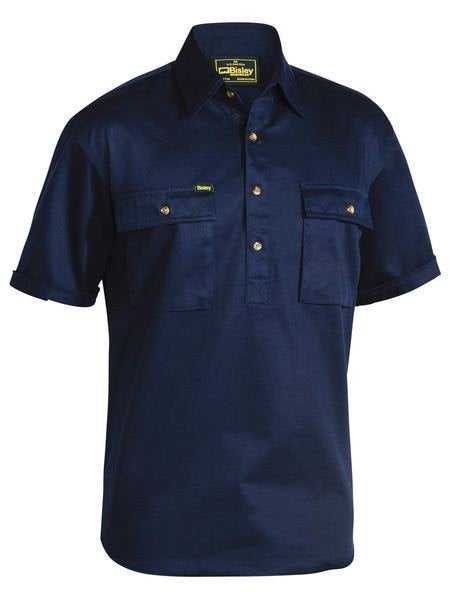 CLOSED FRONT COTTON DRILL SHIRT - SHORT SLEEVE