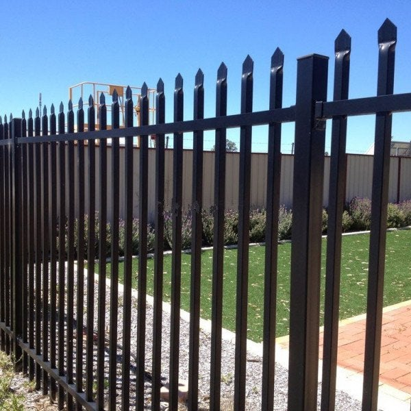 Industrial Steel Fence Panel - Powder Coated - Black
