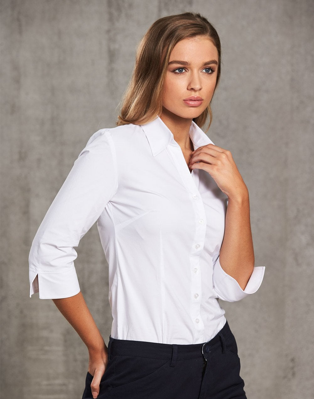 Women's Cotton/Poly Stretch 3/4 Sleeve Shirt