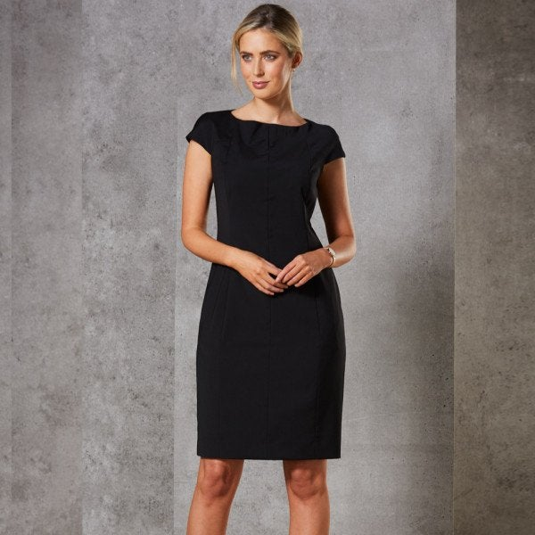 Custom Ladies' Wool Blend Stretch Cap Sleeve Dress