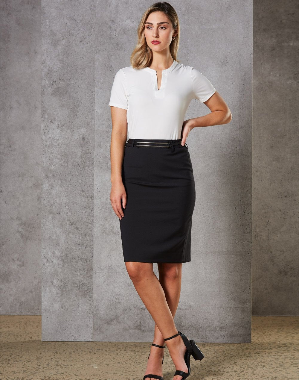 Wool Blend Mid Length Pencil Skirt