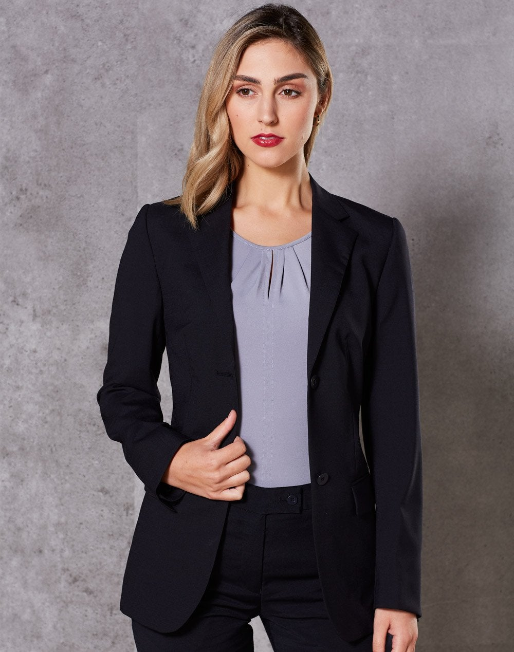 Wool Blend Stretch Mid Length Jacket