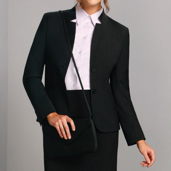 Wool Blend Stretch Reverse Lapel Jacket