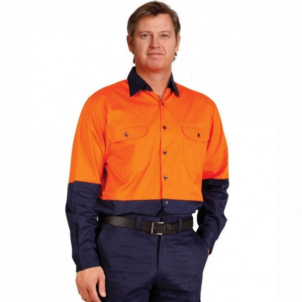Hi Vis Cotton Twill Safety Shirt